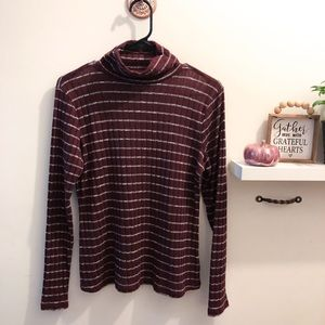 Janetchung Burgundy Striped Long Sleeve Turtleneck